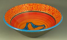 Small Bowl with Four Bluebirds by ElisabethMaurland