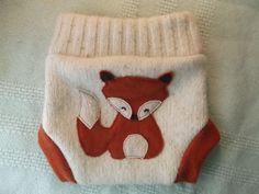 MEDIUM Wool Diaper cover Fox Upcycled wool diaper soaker. $20.00, via Etsy.
