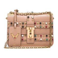 Valentino Rockstud Rolling Bag ($4,805) ❤ liked on Polyvore featuring bags, handbags, borse, valentino bag, kiss-lock handbags, leather handbags, genuine leather purse, hand bags and metallic handbags