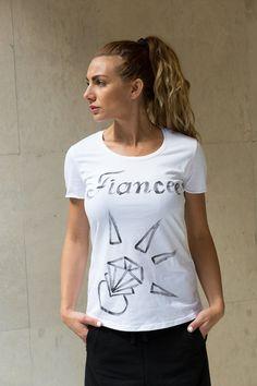 Fiance COTTON Tshirt, Cotton Tshirt, Bride Squat Tshirt, Bridesmaid Team Top, Top Quality Italian Fabric Designer Top, Handmade Top