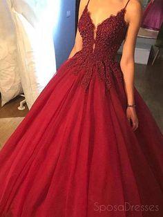 Pretty Prom Dresses, V Neck Prom Dresses, Tulle Prom Dress, Cheap Prom Dresses, Prom Party Dresses, Homecoming Dresses, Long Dresses, Dress Long, Red Dress Prom