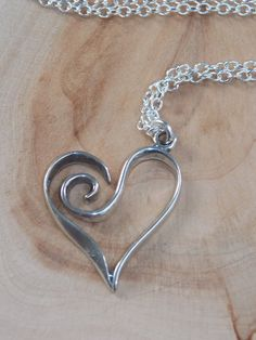 Heart Necklace Sterling Silver Heart Necklace by MalieCreations