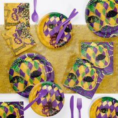 Mardi Gras Desserts, Mardi Gras Food, Mardi Gras Decorations, Masquerade Decorations, Graduation Decorations, Masquerade Party, Purple Dinnerware, Mardi Gras Party Theme, Party Kit