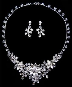 Silver Clear Rhinestone Crystal Flower Formal Prom Bridal Necklace Earring Set
