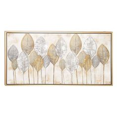 The DecMode Rectangular Framed Veined Leaves Wall Art depicts multiple leaf patterns against a softly hued background. Beach Canvas Art, Canvas Frame, Canvas Wall Art, Leaf Wall Art, Wood Wall Art, Wall Art Decor, Large Wall Paintings, Metallic Colors, Metallic Gold
