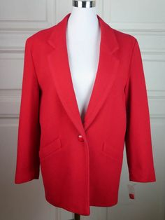 British Vintage Red Wool Blazer Women's, Cherry Red Wool Jacket, Bright Red English Blazer, 1990s Blazer Like New: Size 12 US, Size 16 UK by YouLookAmazing on Etsy