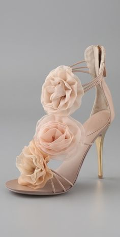 LOVE these heels.. 3 chiffon rosettes on blush colored three inch heels.