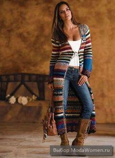 super long cardigan in stripes Casual Winter Outfits, Boho Outfits, Fall Outfits, Fashion Outfits, Mode Gipsy, Cute Fashion, Boho Fashion, Long Sweaters, Sweaters For Women