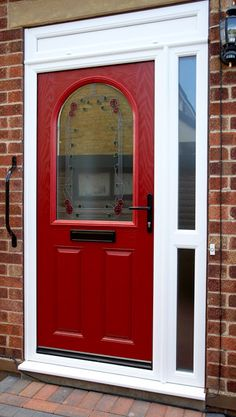 Red composite door with lovely stained glass effect