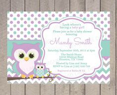 Owls Baby Shower Invitation Purple Teal and by VividLaneDesigns