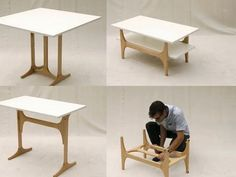 Folding Furniture Is Dining Table, Desk and Coffee Table in One