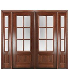 "MAI Doors DD86L-2-2 True Divided Lite, 8'-0"" Tall 6-Lite Panel Bottom Mahogany Exterior Double Door and Two Sidelites at Doors4Home.com"