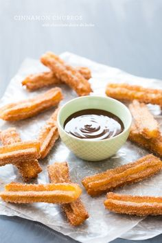 Pin for Later: 16 Churro Recipes Guaranteed to Make Your Mouth Water Cinnamon Churros With Chocolate Dulce de Leche Get the recipe: cinnamon churros with chocolate dulce de leche