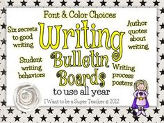 Writing Workshop Bulletin Board Pack - Use all Year! - font & color choices, author quotes about writing, student writing behaviors and writing process posters