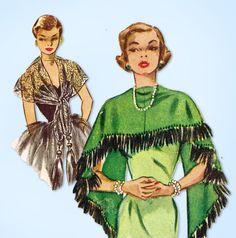 1950s Original Vintage McCalls Pattern 1613 Uncut Misses Set of Stoles Fits All #McCalls #Stoles