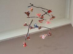 Origami butterfly mobile using garden sticks