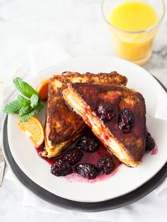 Mascarpone Stuffed French Toast with Blackberry Sauce | FoodieCrush.com