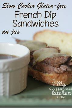Gluten-free Slow Cooker French Dip Sandwiches - so easy to make in your CrockPot!