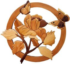 Intarsia Woodworking Pattern ROSE AND by GielishWoodSculpture