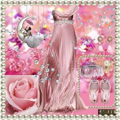 """Pink Flowing Evening Gown"" by enchanting-muse on Polyvore"
