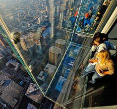 The Ledge, Skydeck, Willis Tower (formerly Sears Tower), Chicago. The Ledge affords visitors a one-of-a-kind experience and view of Chicago through a glass floor! Must Do In Chicago, Oh The Places You'll Go, Places To Travel, Hidden Places, Travel Destinations, Willis Tower Skydeck, San Diego, The Ledge, Travel Tips