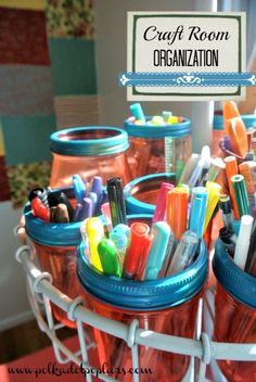 Craft Room Organizing - this is a great idea for the craft room or office space! Hint: those brightly-colored plastic cups work just as we'll - and they're cheaper!