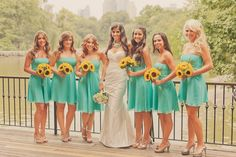 Turquoise yellow color scheme...love the sunflowers! I'm actually really loving these colors!!! ...who would've thought!? SOMEONE DO THIS IT BE CUTE, SUPER CUTE WITH COWBOY BOOTS OR NUDE SHOES BUT IN A BARN OR WOODSEY SETTING