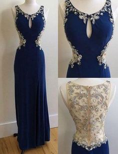 dark blue prom dress,long Prom Dresses,beaded prom dress,chiffon prom dress,cheap prom dress,BD3850