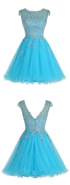 Cute Blue Dress, Short elegant Dress, Scoop A-line Dress, Homecoming Dress with Appliques
