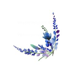 Corner of Lavender Blue Flowers. JPG, PNG, 300 dpi - Tatuajes florales - Corner of Lavender Blue Flowers. Watercolor Wallpaper, Painting Wallpaper, Watercolor Background, Watercolor Flowers, Watercolor Paintings, Background Drawing, Background Ideas, Painting Art, Blue Flower Wallpaper