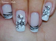 French Nail Art in silver, black and white with flowers ♡