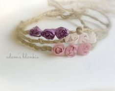 Items similar to Bodhi - Open Halo Headband Wrap Tie Back - Twine Jute - Mauve Beige or Purple Rosettes - Newborn Baby Girl Infant Adults - Photo Prop on Etsy Halo Headband, Headband Wrap, Twine Crafts, Lace Bracelet, Baby Girl Newborn, Baby Headbands, Rosettes, Photo Props, Hair Accessories