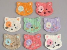 Crochet cat faces - would make cute coasters: