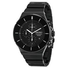 9499ce10590 Seiko SNDD83 Men s Matrix Black Dial Black IP Steel Bracelet Chronograph  Watch