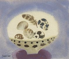 Eggs and Feather - Mary Fedden Watercolor And Ink, Watercolor Paintings, Rachel Grant, British Artists, Feather Art, Still Life Art, Nests, Artists Like, Watercolours