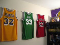 UltraMount Display. Solution for what to do with all the basketball jerseys we have!! Takes up less room than frames.