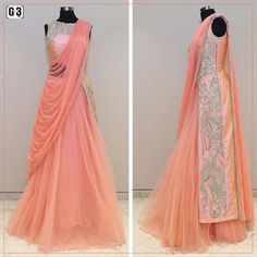 Ethnicity meets modern sensibilities for special occasions with Gown with pre stitched dupatta style. For price or detail do whatsApp +91-9913433322