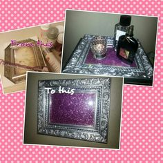 DIY Vanity Tray. Utilizing a picture frame and just putting some sort of print that matches the theme of the dressing room! And you can change it if you get tired of it!