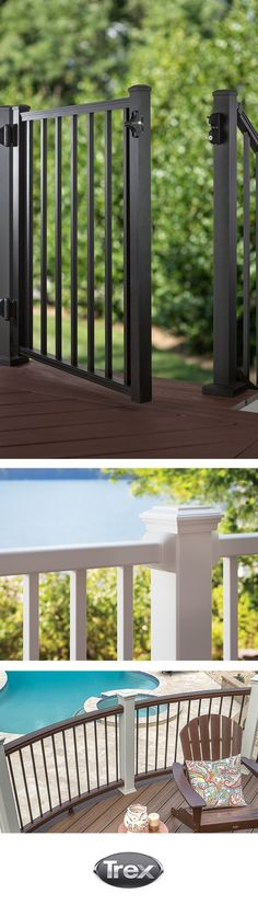 For beautiful form and function, Trex railings can be finished with an aluminum gate to allow easy access to other areas of the backyard. Find out more about railing accessories at Trex.com/products/railing/