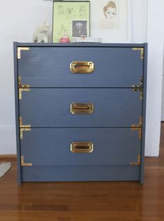 DIY- Ikea hack- antique campaign dresser. Beautiful colonial/slate blue.  from almost makes perfect.