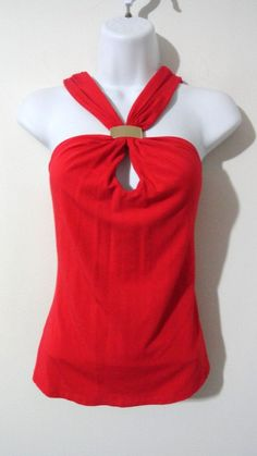Cache Red Sexy Keyhole Blouse Top Shirt Cocktail Evening Club Party Medium M #Cache #Blouse #EveningOccasion