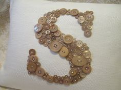 Custom Pillow Monogrammed in Taupe Buttons by letterperfectdesigns