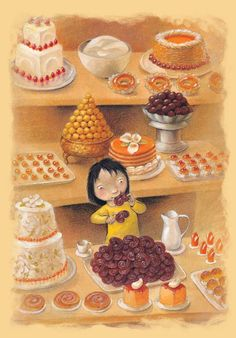 pastry shop illustration from The Best Family in the World, written by Susana López,