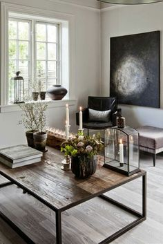 Coffee Table Design And Decorating Ideas With Art Deco Styles Modern Farmhouse Living Room Decor, Home Living Room, Modern Living, Farmhouse Style, Living Spaces, Coffee Table Design, Coffee Tables, Design Table, Industrial Chic Decor