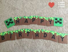 Creep to the party with this cute minecraft party decoration! Great for a birthday party and completely customizable! Minecraft Birthday Decorations, Minecraft Birthday Cake, Minecraft Birthday Invitations, 9th Birthday Parties, Birthday Diy, Birthday Ideas, Bolo Minecraft, Minecraft Crafts, Minecraft Skins