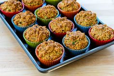 Recipe for Savory Whole Wheat Zucchini Muffins with Feta, Parmesan, and Green Onions (plus 25 more fun ideas for baking with zucchini!) [from Kalyn's Kitchen]