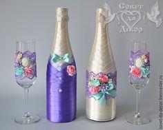 """Купить Украшение свадебного шампанского """"жених и невеста"""" - украшение для шампанского, украшение шампанского, свадебное шампанское"""