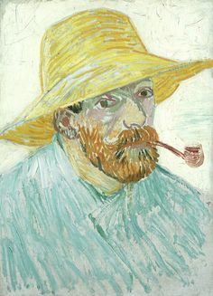 Art of the Day- Van Gogh, Self-Portrait with Pipe and Straw Hat, 1887. Oil on canvas, 41.9 x 30.1 cm. Van Gogh Museum, Amsterdam..jpg
