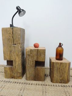 134 year old hand hewn Beam Side Tables from salvaged wood