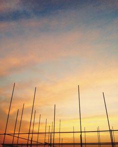 Scaffolding, Mobile Photography, Vsco, Korea, Sunset, Staging, Sunsets, Korean, The Sunset